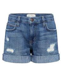 Current/Elliott - The Boyfriend Distressed Rolled Shorts - Lyst