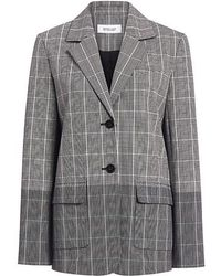 10 Crosby Derek Lam Two-toned Plaid Flannel Oversized Blazer - Gray