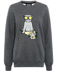 Markus Lupfer - Anna Pug Animal-print Applique Sweatshirt - Lyst