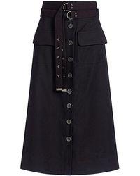 Sea - Kinney Double Belted High Waist Midi Skirt - Lyst
