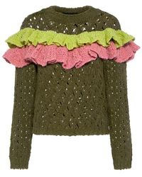 Boutique Moschino - Ruffle Layer Wool Open Knit Sweater - Lyst