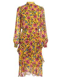 Saloni - Isa Silk Ruffle Floral Knee Length Dress - Lyst