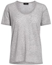 Theory - Cashmere Double-trim Scoop Neck Tee - Lyst