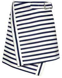 Carven - Flic Flac Stripe Buckled Mini Skirt - Lyst