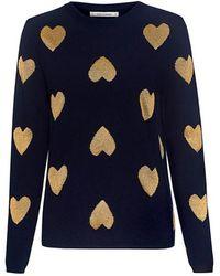 Chinti & Parker - Metallic Heart Cashmere Blend Sweater - Lyst