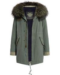 Mr & Mrs Italy - Silver Fox Fur Hood Teddy Velvet Knee Length Parka - Lyst