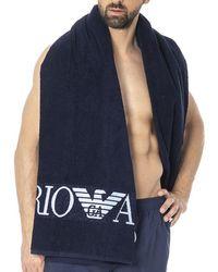 Emporio Armani - Iconic Embroidery Logo Beach Towel - Lyst