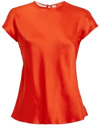 Helmut Lang - Orange-red Satin Cap Sleeve Top - Lyst