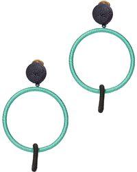Oscar de la Renta | Two-tone Double Hoop Earrings | Lyst
