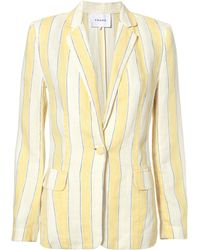 FRAME - Linen Striped Blazer - Lyst