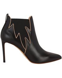 Francesco Russo - Flames Leather Booties - Lyst