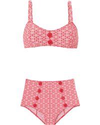 Lisa Marie Fernandez - Genevieve Red Two-tone Seersucker Bikini - Lyst