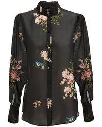 Joie - Elzie Long-sleeve Floral Silk Top - Lyst