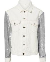 IRO | Sequined White Denim Jacket | Lyst