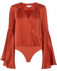 Caroline Constas - Bell-sleeved Satin Bodysuit - Lyst