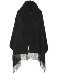 Pologeorgis - Shearling Collar Reversible Black Shawl - Lyst