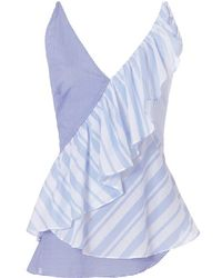 Exclusive For Intermix - Owen Stripe Ruffle Cami - Lyst