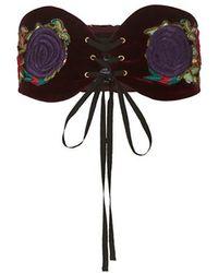 Anna Sui - Velvet Embroidered Belt - Lyst