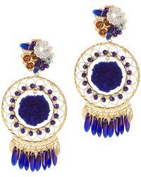 Mercedes Salazar Cobalt Pom Fiesta Earrings - Blue