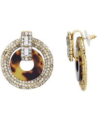 Elizabeth Cole - Tortoise Shell Print Crystal Earrings Gold/crystal 1size - Lyst