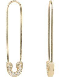 Sydney Evan - Pavé Diamond Safety Pin Earrings - Lyst