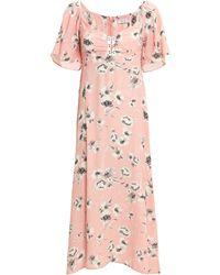 Flynn Skye - Tasha Midi Dress Blush/floral M - Lyst