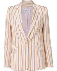FRAME - Pink Striped Blazer - Lyst