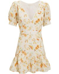 LoveShackFancy - Lena Mini Dress Ivory/yellow Floral L - Lyst