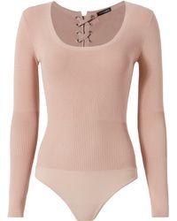 Intermix - Caterina Lace-up Grommet Bodysuit - Lyst