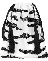 Attico - Zebra Sequin Pouch Blk/wht 1size - Lyst