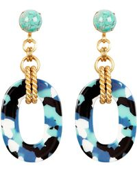 Elizabeth Cole - Bennet Glass Drop Earrings Blue/black/gold 1size - Lyst