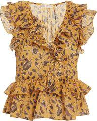 15d734543f7a2 Lyst - Ulla Johnson Leoda Ruffle Silk Top in Metallic