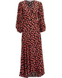 034e7771 Ganni Printed Crepe Wrap Dress - Lyst