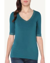 Intimissimi - Short-sleeve Modal Top With Lace Inserts - Lyst