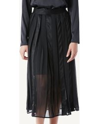 Intimissimi - Long Skirt In Pleated Stretch Suede And Georgette - Lyst