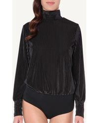 Intimissimi - Long-sleeve Striped Velvet Bodysuit - Lyst