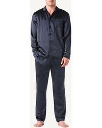 Intimissimi Button-front Silk Print Pajama Set - Blue