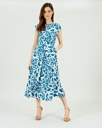 Jaeger - Fit And Flare Animal Print Dress - Lyst