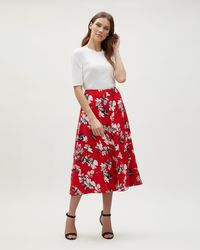 Jaeger - Brushstroke Floral Fluid A-line Skirt - Lyst