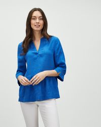 3be2162b5cf0d Jaeger - Gathered Waist Sleeved Linen Top - Lyst