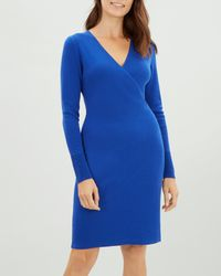 Jaeger - Rib Detail Wrap Over Wool Dress - Lyst