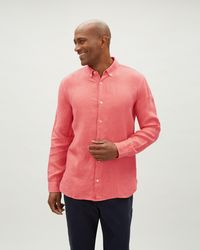 Jaeger - Linen Shirt With Grown On Placket - Lyst