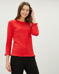 Jaeger - Ruffle Collar And Cuff Jersey Top - Lyst