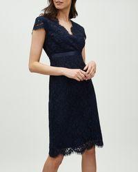 Jaeger - Wrap Front Grosgrain Waisted Lace Dress - Lyst