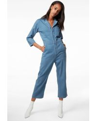 J Brand - Traveller Cropped Jumpsuit In Heavenly - Lyst