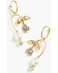 J.Crew - Pearl And Crystal Blossom Earrings - Lyst