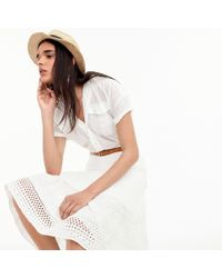 J.Crew - Petite Point Sur Tiered Skirt In Mixed Eyelet - Lyst