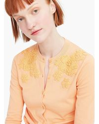 J.Crew - Jackie Cardigan Sweater With Eyelet Applique - Lyst
