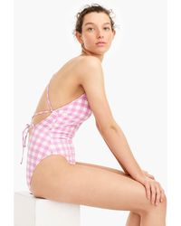 J.Crew - Lace-up Back One-piece Swimsuit In Oversized Matte Gingham - Lyst