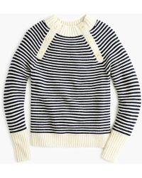 J.Crew - Striped Crewneck Jumper With Buttons - Lyst